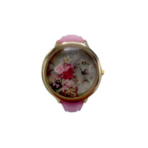 Floral Dial Watch with Pink Clay Rose Faux Leather Pink Band