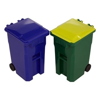 Mini Curbside Trash and Recycle Can Set Pencil Cup Holder - Green/Blue