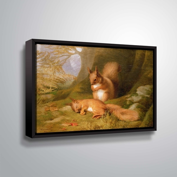 ArtWall Squirrels in a wood Floater Framed Canvas