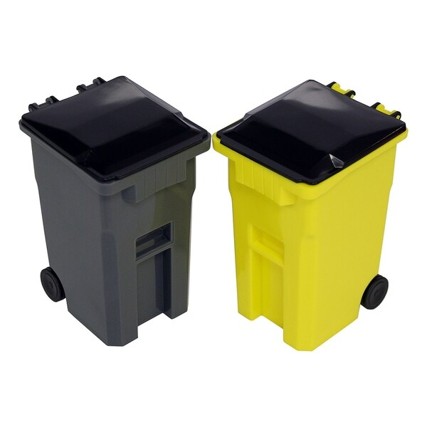 Mini Curbside Trash and Recycle Can Set Pencil Cup Holder -Yellow/Grey