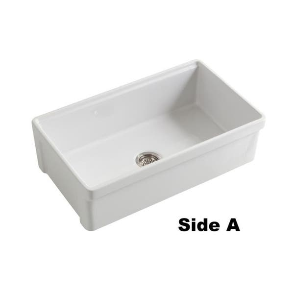 Tosca Farmhouse Fireclay 33 In Single Bowl Kitchen Sink In White With Cutting Board Bottom Grid And Strainer On Sale Overstock 22507932