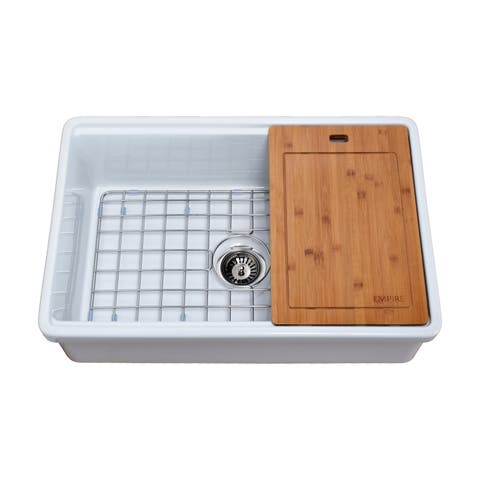 Tosca Reversible Farmhouse Fireclay 30 in. Single Bowl Kitchen Sink in White with Cutting-Board, Grid and Strainer