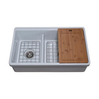 Tosca Reversible Farmhouse Fireclay 33 in. 60/40 Double Bowl Kitchen Sink in White with Cutting-Board, Grid and Strainer