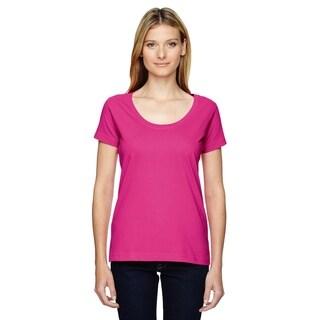 LAT womens Fine Jersey Deep Scoop Neck Longer Length T-Shirt (3504)