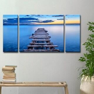 Ready2HangArt 'Pier' 3-Pc Canvas Wall Décor Set - Blue