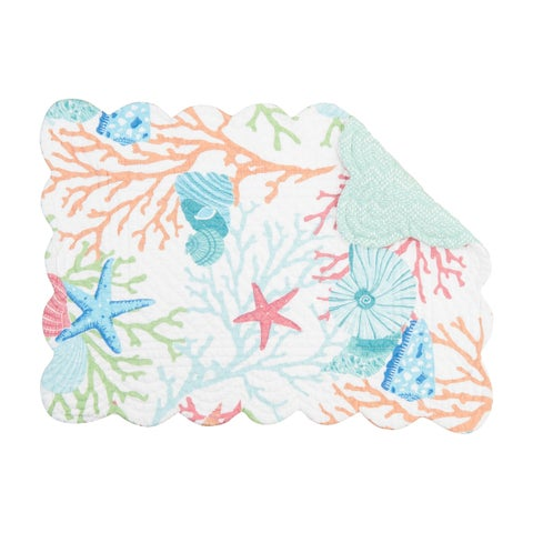 Reef Adventure Tropical or Coastal Cotton Quilted Placemat Set of 6 - N/A
