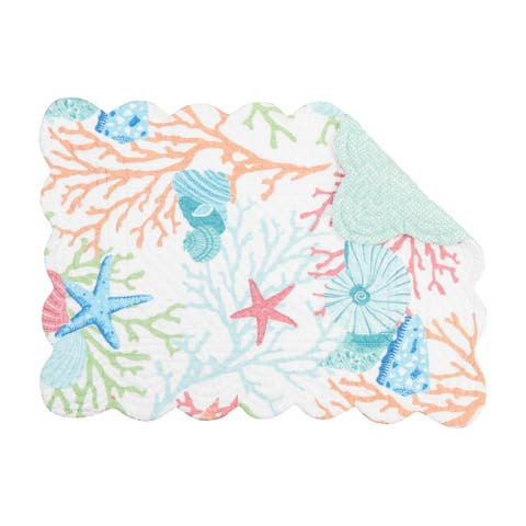 Reef Adventure Tropical or Coastal Cotton Quilted Placemat Set of 6