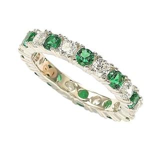 7f9ec2ae50781 Shop Suzy Levian Sterling Silver Cubic Zirconia Green Emerald ...