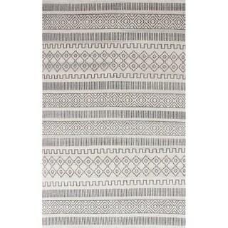 eCarpetGallery Hand-knotted Sari Silk White Silk Rug - 4'10 x 7'11