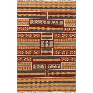 eCarpetGallery  Flat-weave Izmir FW Dark Red Wool Kilim - 5'3 x 8'0