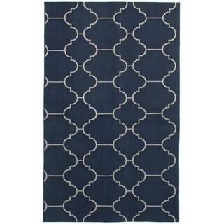eCarpetGallery Flat-weave Ankara FW Navy Blue Wool Kilim - 4'11 x 8'2