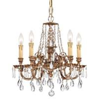 Traditional 5-light Olde Brass/Swarovski Spectra Crystal Chandelier - Olde Brass