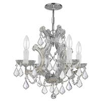 Traditional 4-light Chrome/Italian Crystal Mini Chandelier - Polished chrome