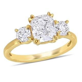 Miadora Signature Collection 14k Yellow Gold 2-5/8ct TDW Diamond 3-Stone Engagement Ring
