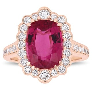 Miadora Signature Collection 14k Rose Gold Cushion-Cut Pink Tourmaline and 1ct TDW Diamond Vintage Halo Cocktail Ring