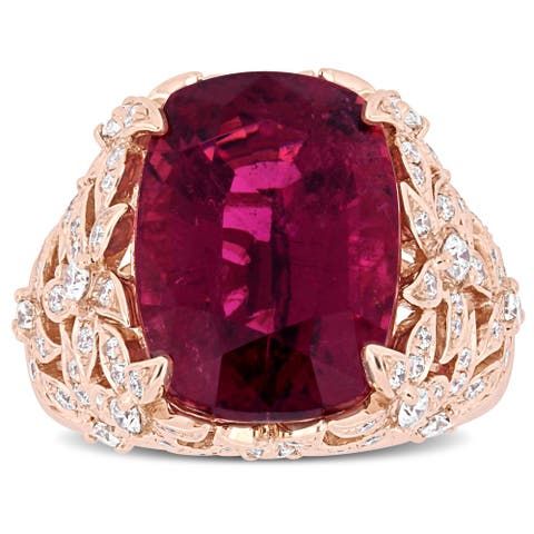 Miadora Signature Collection 14k Rose Gold Cushion-Cut Pink Tourmaline and 7/8ct TDW Diamond Floral Cluster Cocktail Ring