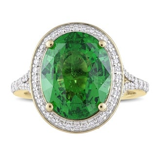 Miadora Signature Collection 14k Yellow Gold Natural Tsavorite and 3/5ct TDW Diamond Oval Halo Split Shank Cocktail Ring