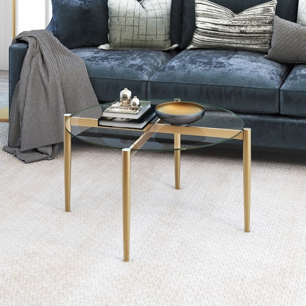 Shop Kadmos Mid-Century Glam Gold Metal/Glass Coffee Table