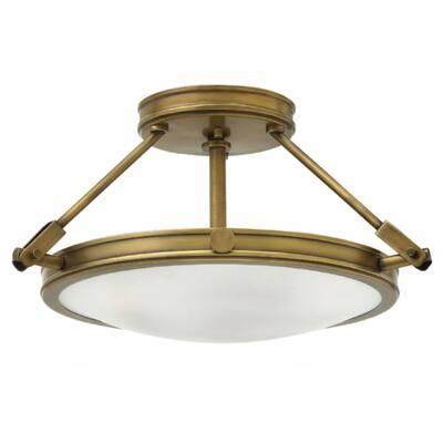 Hinkley Collier Opal Glass/ Heritage Brass 3-Light Semi-Flush Mount