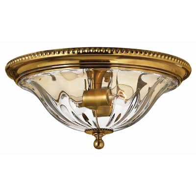 Hinkley Cambridge 2-Light Flush Mount in Burnished Brass