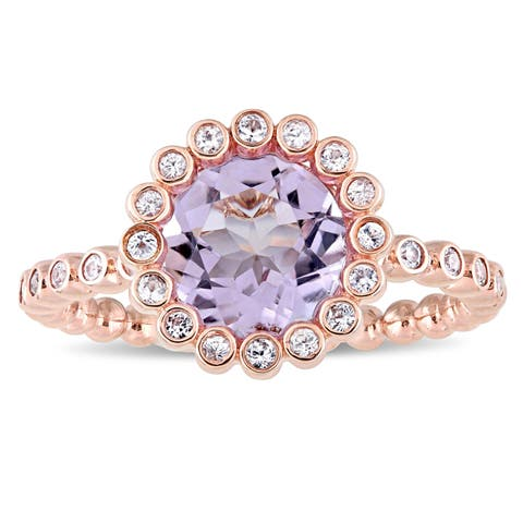 Miadora Signature Collection 10k Rose Gold Rose de France and White Sapphire Beaded Halo Cocktail Ring