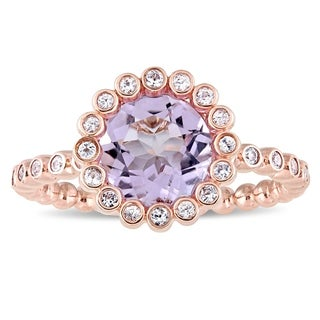 Miadora Signature Collection 10k Rose Gold Rose de France and White Sapphire Beaded Halo Ring (More options available)