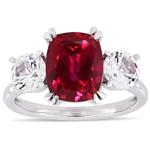Miadora 10k White Gold Created Ruby and Created White Sapphire Cushion 3-Stone Engagement Ring