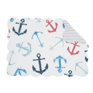 Nautical Crew Coastal Cotton Quilted Placemat Set of 6 - N/A
