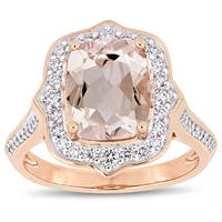 Miadora Signature Collection 14k Rose Gold Morganite and 5/8ct TDW Diamond Framed Halo Engagement Ring