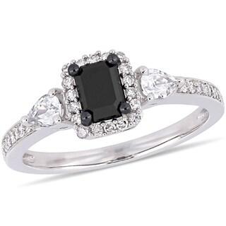 Miadora Signature Collection 10k White Gold 7/8ct TDW Black and White Diamond White Sapphire 3-Stone Halo Engagement Ring