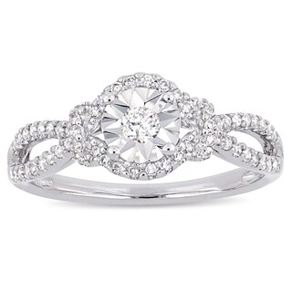 Miadora Signature Collection Sterling Silver 1/3ct TDW Diamond Halo Split Shank Engagement Ring (5 options available)