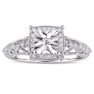 Miadora Sterling Silver 1/5ct TDW Diamond Square Halo Open Infinity Accent Engagement Ring (5 options available)