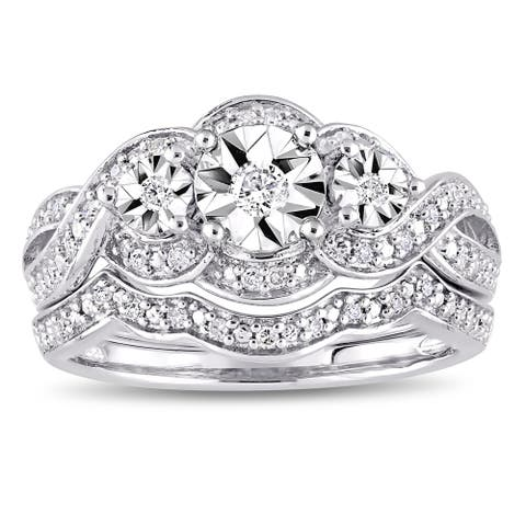 Miadora Sterling Silver 1/4ct TDW Diamond Infinity Crossover Bridal Ring Set