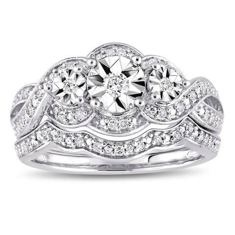 Miadora Sterling Silver 1/4ct TDW Diamond Infinity Crossover Bridal Ring Set