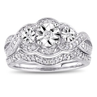 Miadora Sterling Silver 1/4ct TDW Diamond Infinity Crossover Bridal Ring Set (2 options available)