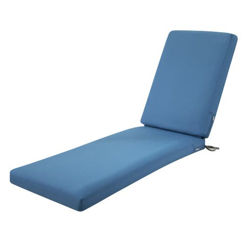 Classic Accessories Ravenna Water-Resistant 72 x 21 x 3 Inch Patio Chaise Lounge Cushion, Empire Blue