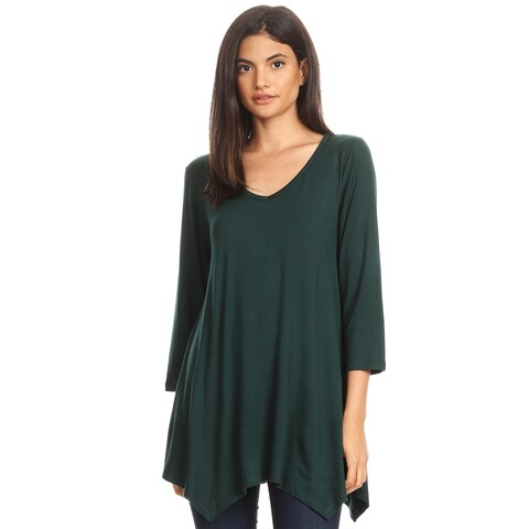 Women's Solid Color Oversized Fit V-Neck Knit Tunic Top