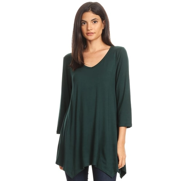 Women's Solid Color Oversized Fit V-Neck Knit Tunic Top. Opens flyout.