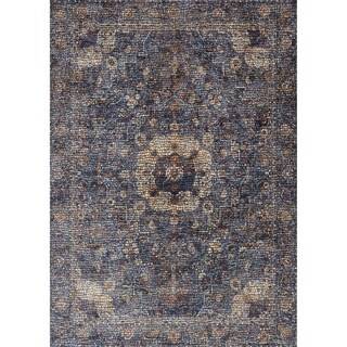 Traditional Blue Mosaic Medallion Area Rug - 3'7 X 5'2