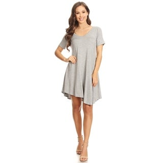 Women's Solid Color Knit Short A-Line Tunic Top