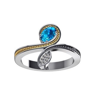 Sterling Silver Swiss Blue Topaz / Created Blue Sapphire Ring with 14K Solid Gold Wire