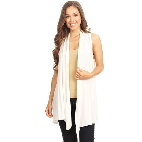 Women's Solid Loose Fit Draped Neck Vest Cardigan