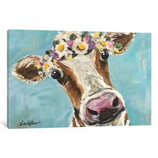 """iCanvas """"Cow With Flower Crown"""" by Hippie Hound Studios Canvas Print"""