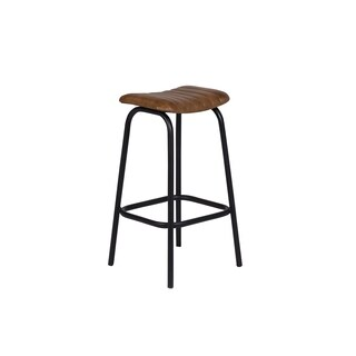 "Handmade Oscar Leather Bar Stool - 30"" x 12"" x 15"" (India)"