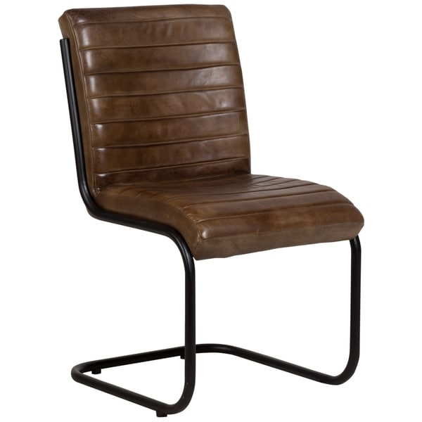 "Wanderloot Otis Leather & Metal Dining Chair, Cognac - 34""H x 23""W x 20""L"