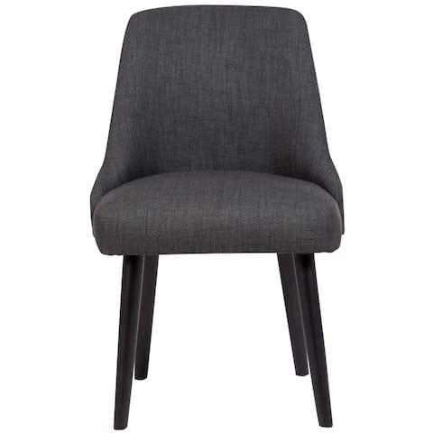 "Porter Designs Olaf Mid-Century Modern Upholstered Dining Chair, Dark Gray - 33""H x 20""D x 21""W"