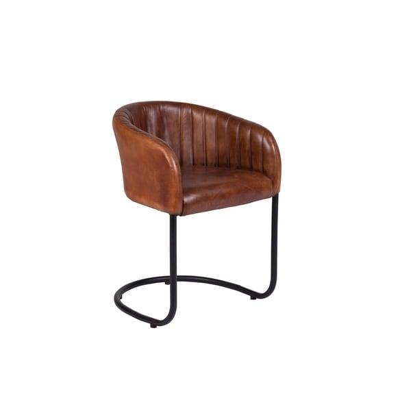 Wanderloot Dexter Cognac Leather And Metal Dining Chair