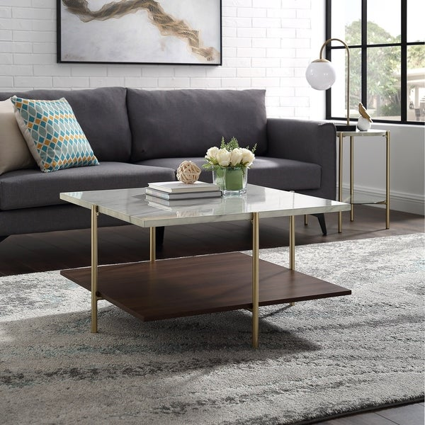 "Shop 32"" Square Faux Marble Coffee Table"