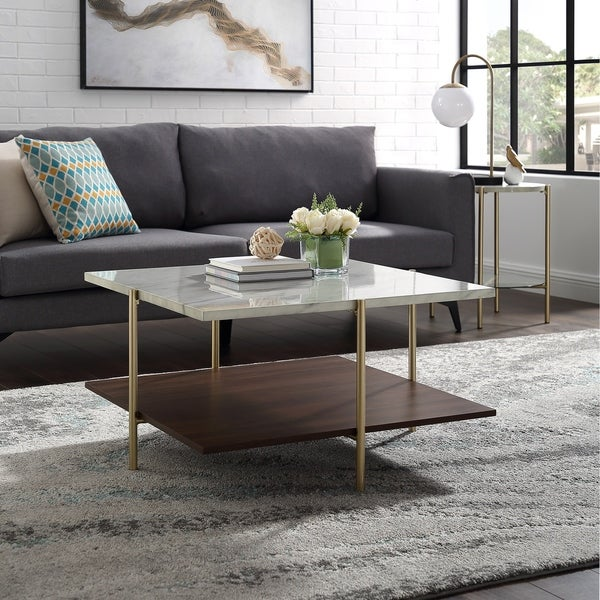 Mid Century Simone Square Coffee Table   Faux Marble U0026amp; ...