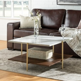 Mid Century Simone Square Coffee Table   Faux Marble U0026 Gold